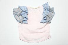 画像5:  【SALE40%OFF!!】 Geewhiz(ジーウィズ)りぼんちゃん/Wガーゼコンビ袖フリルTシャツ【キッズ】【ベビー】【子供】【pink】 (5)