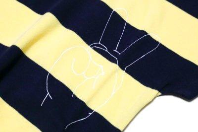 画像3:  【SALE40%OFF!!】 Geewhiz(ジーウィズ)ピース/ボーダー半袖Tシャツ【navy×yellow】