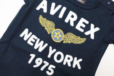 画像3:  【SALE40%OFF!!】 AVIREX (アヴィレックス) フェルト刺繍Tシャツ【コン】【80-140cm】
