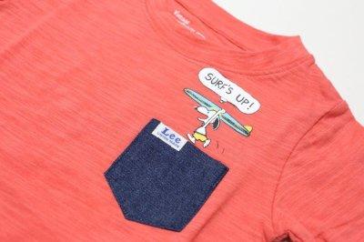 画像1:  【SALE30%OFF!!】 Lee(リー)×PEANUTS(ピーナッツ) スヌーピーサーフポケット半袖Tシャツ【ピンク】【キッズ/ベビー】【80-140cm】