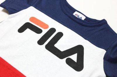 画像1:  【SALE30%OFF!!】 FILA(フィラ) トリコロールTシャツ 【コン/レッド】【キッズ/ベビー】【80-140cm】