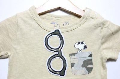 画像1: PEANUTS(ピーナッツ)×StompStamp(ストンプスタンプ) スヌーピーポケット付き半袖Tシャツ【ベージュ】【キッズ/ベビー】【80-140cm】