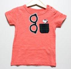 画像1: PEANUTS(ピーナッツ)×StompStamp(ストンプスタンプ) スヌーピーポケット付き半袖Tシャツ【ピンク】【キッズ/ベビー】【80-140cm】 (1)