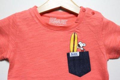 画像1: 【SALE20%OFF】Lee(リー)×StompStamp(ストンプスタンプ)×PEANUTS(ピーナッツ) スヌーピーサーフポケット半袖Tシャツ【ピュアピンク】【キッズ/ベビー】【80-140cm】