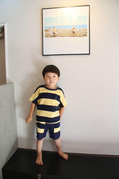 画像1:  【SALE40%OFF!!】 Geewhiz(ジーウィズ)ピース/ボーダー半袖Tシャツ【navy×yellow】 (1)