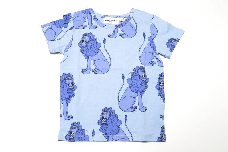 画像1:  【SALE30%OFF!!】 mini rodini(ミニロディー二)Lion半袖Tシャツ【Light Blue】 (1)