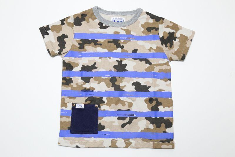 画像1:  【SALE40%OFF!!】 Lee×StompStamp(リー×ストンプスタンプ)   ポケット付カモフラボーダーTシャツ【カモフラージュ】 (1)