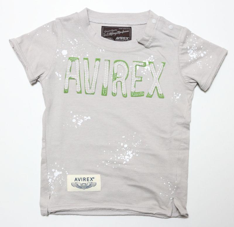 画像1:  【SALE40%OFF!!】 AVIREX (アヴィレックス) ロゴ刺繍Tシャツ【グレー】【80-140cm】 (1)