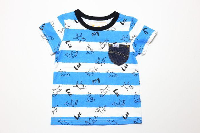 画像1:  【SALE30%OFF!!】 Lee(リー)×StompStamp(ストンプスタンプ) サメ柄半袖Tシャツ【ブルー】【キッズ/ベビー】【80-140cm】 (1)
