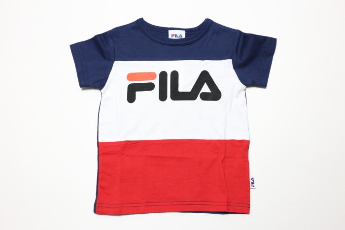 画像1:  【SALE30%OFF!!】 FILA(フィラ) トリコロールTシャツ 【コン/レッド】【キッズ/ベビー】【80-140cm】 (1)