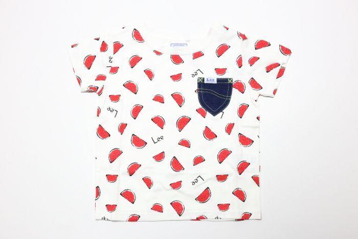 画像1:  【SALE30%OFF!!】 Lee(リー)×StompStamp(ストンプスタンプ) スイカ柄半袖Tシャツ【レッド】【キッズ/ベビー】【80-140cm】 (1)