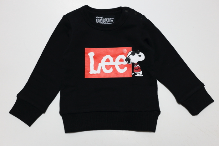画像1: Lee(リー)×PEANUTS(ピーナッツ) プリントトレーナー【ブラック】【キッズ/ベビー】【80-140cm】 (1)