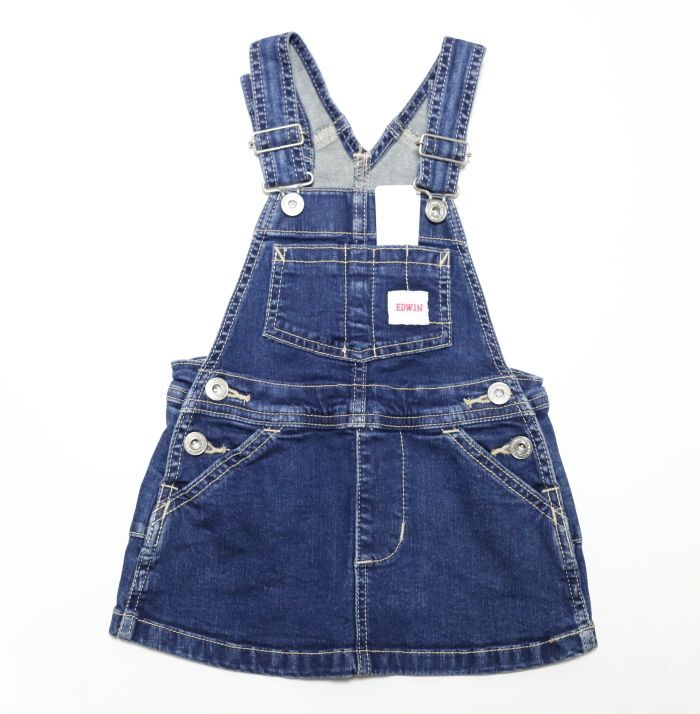 画像1: EDWIN(エドウィン) ベビー&キッズ オーバーオールスカート【26/濃色ブルー】 (1)