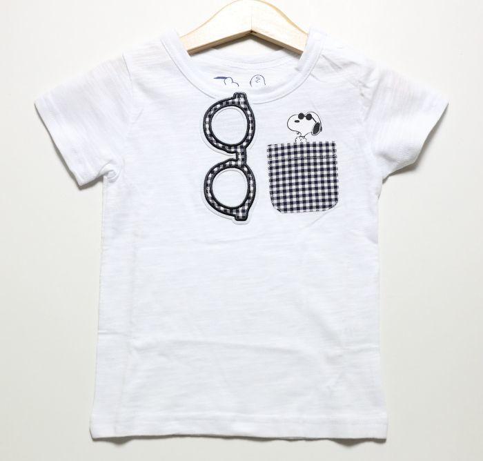 画像1: 【SALE20%OFF】PEANUTS(ピーナッツ)×StompStamp(ストンプスタンプ) スヌーピーポケット付き半袖Tシャツ【ホワイト】【キッズ/ベビー】【80-140cm】 (1)