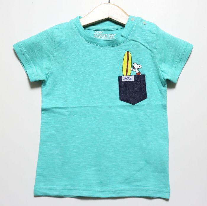 画像1: Lee(リー)×StompStamp(ストンプスタンプ)×PEANUTS(ピーナッツ) スヌーピーサーフポケット半袖Tシャツ【グリーン】【キッズ/ベビー】【80-140cm】 (1)