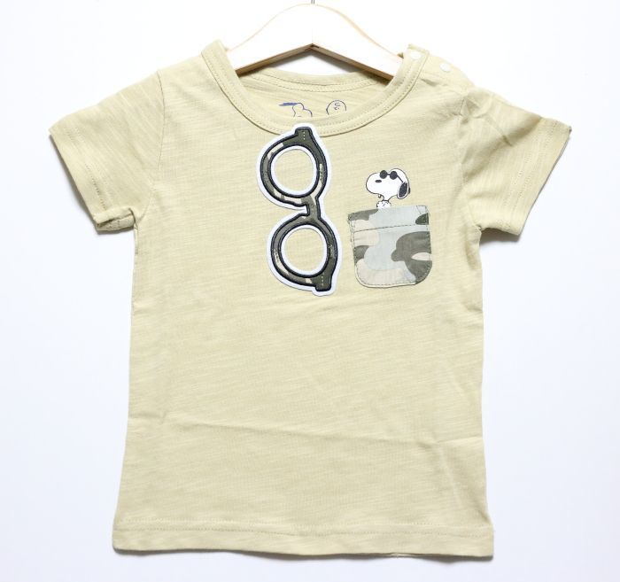画像1: PEANUTS(ピーナッツ)×StompStamp(ストンプスタンプ) スヌーピーポケット付き半袖Tシャツ【ベージュ】【キッズ/ベビー】【80-140cm】 (1)