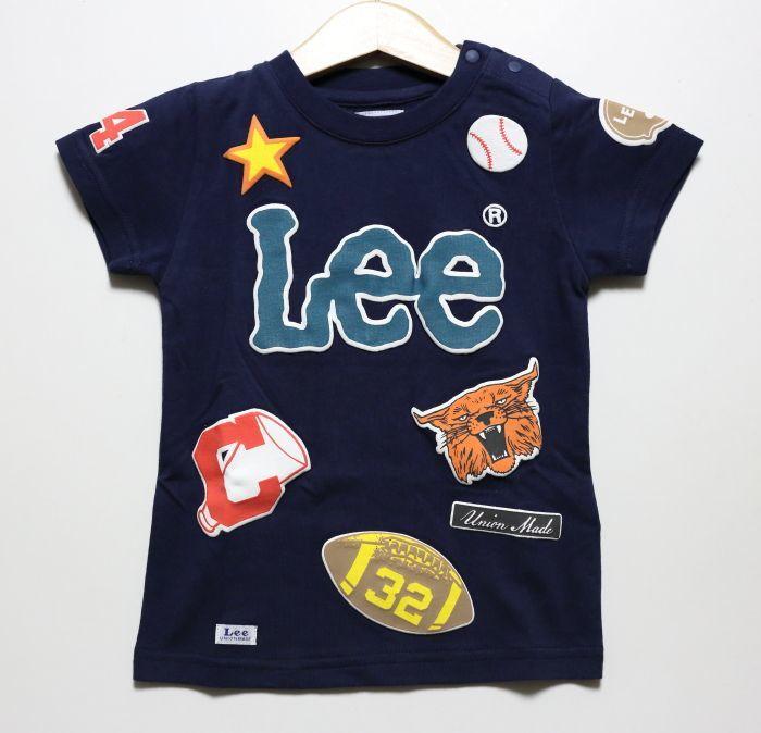 画像1: 【SALE20%OFF】Lee(リー)×StompStamp(ストンプスタンプ)  ワッペンプリントTシャツ【ネイビー】【キッズ/ベビー】【80-140cm】 (1)